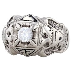 Scottish Rite Masonic Signet Ring 10k White Gold CZ Size Eagle Yod Size 9