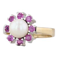 Cultured Pearl Ruby Halo Ring 14k Yellow Gold Size 8 Gemstone Flower