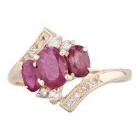 1.40ctw 3-Stone Ruby Diamond Bypass Ring 14k Yellow Gold Size 7