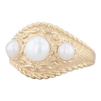 3-Stone Cultured Pearl Ring 14k Yellow Gold Ornate Size 8