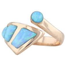 Synthetic Blue Opal Bypass Ring 14k Rose Gold Size 5.25