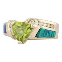 Peridot Diamond Synthetic Opal Inlay Ring 14k Yellow Gold Size 8