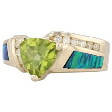Peridot Diamond Synthetic Opal Inlay Ring 14k Yellow Gold Size 8