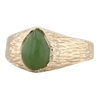 Green Nephrite Jade Ring 14k Yellow Gold Size 8 Woodgrain Pear Solitaire