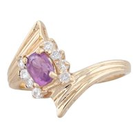 0.74ctw Pink Sapphire Diamond Bypass Ring 14k Yellow Gold Size 6 Oval Solitaire