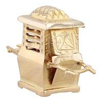 Palanquin Charm 18k Yellow Gold 3D Souvenir Litter Pendant Ornate