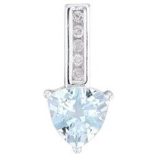 0.97ctw Aquamarine Heart Diamond Journey Drop Pendant 10k White Gold