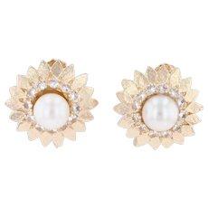 Cultured Pearl Flower Earrings 14k Gold Synthetic Spinel Screw Back Non Pierced