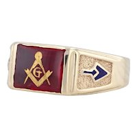 Synthetic Ruby Masonic Signet Ring 10k Gold Size 9 Blue Lodge Masonry Tools