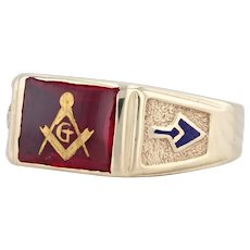 Synthetic Ruby Masonic Signet Ring 10k Gold Size 9 Blue Lodge Masonry Tools