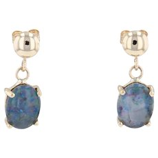 Rainbow Flecked Blue Synthetic Opal Drop Earrings 14k Yellow Gold Oval Solitaire