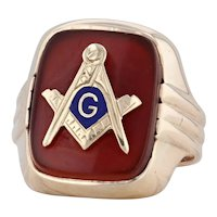 Red Carnelian Masonic Signet Ring 10k Gold Size 10 Square Compass Blue Lodge
