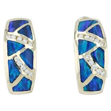 New Diamond Synthetic Opal Mosaic Half Hoop Earrings 14k Yellow Gold Blue Drops