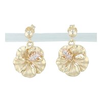 Diamond Hibiscus Dangle Earrings 14k Yellow Gold Floral Jewelry Flower Drops
