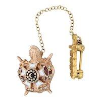 Demolay Badge 10k Yellow Gold Pearls Garnets Vintage Masonic Pin Sword Guard