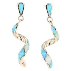 New Synthetic Opal Mosaic Spiral Dangle Earrings 14k Yellow Gold Teardrop