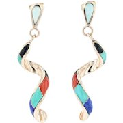New Stone Mosaic Spiral Dangle Earrings 14k Yellow Gold Turquoise Lapis Coral