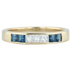0.46ctw Sapphire Diamond Ring 18k Yellow Gold Size 5.75 Wedding Stackable Band