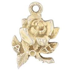 Alpha Omicron Pi Flower Charm 10k Yellow Gold Sorority Rose Pendant