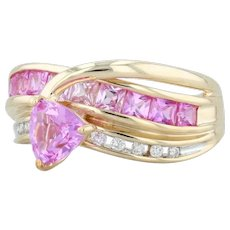2.01ctw Synthetic Pink Sapphire Diamond Ring 14k Gold Sz 8.25 Trillion Solitaire