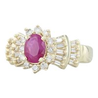 1.32ctw Ruby Diamond Halo Ring 14k Yellow Gold Size 8 Oval Solitaire