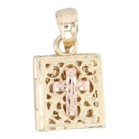 Cross Book Pendant 14k Yellow Rose Gold Praise the Lord Religious Jewelry Charm