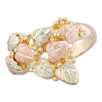 Black Hills Gold Leaf Ring 10k Yellow Rose Gold Green Size 7.5 Floral Landstroms