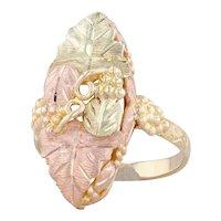 Black Hills Gold Leaf Ring 10k Yellow Rose Gold Green Size 7.25 Landstrom's