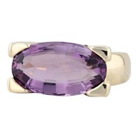 7ct Amethyst Ring 14k Yellow Gold Size 8 Oval Solitaire Cocktail