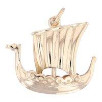 Dragon Boat Charm 14k Yellow Gold Viking Ship Souvenir Keepsake