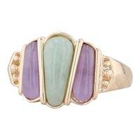 Green Lavender Jadeite Jade Ring 14k Yellow Gold Size 8 Stone Statement