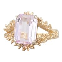 4.35ct Pink Kunzite Floral Ring 14k Yellow Gold Size 6.25 Emerald Cut Solitaire