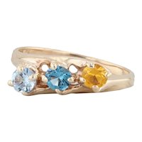 0.94ctw Synthetic Sapphire Spinel Mother's Ring 10k Yellow Gold Sz 7.25 3-Stone