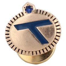 Eastern Airlines Logo Pin 10k Gold Synthetic Sapphire Service Tie Tac