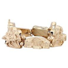 "Historic Richmond Virginia CL Ford Linked Bracelet 14k Yellow Gold 7"" Souvenir"