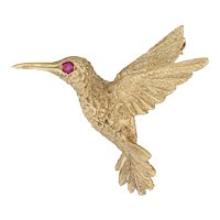 Ruby Eyed Humming Bird Brooch 18k Yellow Gold 3D Figural Pin
