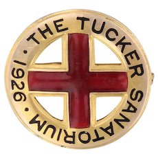 The Tucker Sanatorium 1926 Pin Vintage Cross Service Badge 14k Yellow Gold