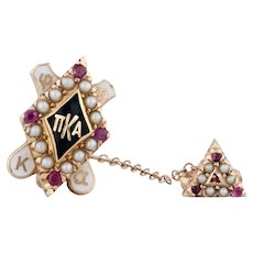 Pi Kappa Alpha Badge 14k Gold Pearls Rubies Pike Vintage Fraternity Pin