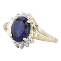 2ct Synthetic Sapphire Diamond Ring 10k Yellow Gold Size 7 Oval Solitaire
