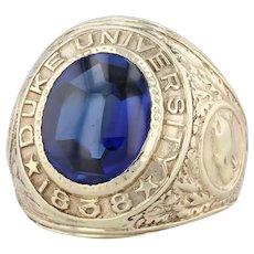 Duke University Class Ring 10k Gold Size 5.25 Synthetic Sapphire Vintage 1931