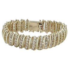 "8ctw Diamond Link Bracelet 7"" - 14k Yellow Gold Scrolling Statement"