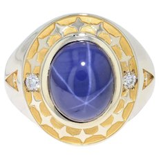Synthetic Star Sapphire & Diamond Men's Ring - 10k Gold Size 10.75 Asterism