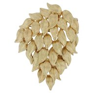 Cellino Leaf Cascade Brooch - 18k Yellow Gold Pin Textured Moves
