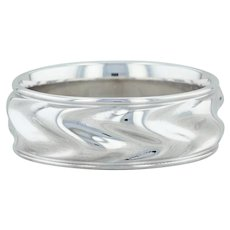 Men's White Gold Ring - 14k Size 11 Band Concave Design Wedding or Right Hand