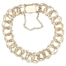 """Starter Charm Bracelet - 14k Yellow Gold 7.75"""" 13mm Double Curb Chain w/ Safety"""