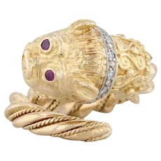 Figural Asian Dog Lion Ring - 18k Yellow Gold Diamonds Rubies Wrap Statement