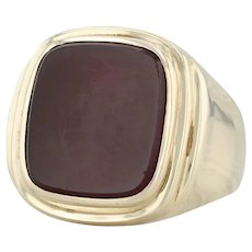 Sardonyx Chalcedony Signet Ring - 8k Yellow Gold Size 9.25 Engravable Monogram