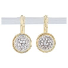 CZ Cluster Drop Earrings - 18k Yellow Gold Pierced Snap Backs Cubic Zirconias