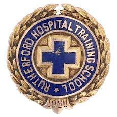 Rutherford Hospital Training School Pin 10k Gold medical Cross Badge