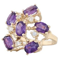 2.55ctw Amethyst Diamond Cluster Cocktail Ring 14k Yellow Gold Size 5.75